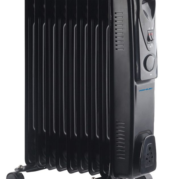 9 Fin 2kW Oil Filled Radiator Heater - Black-0