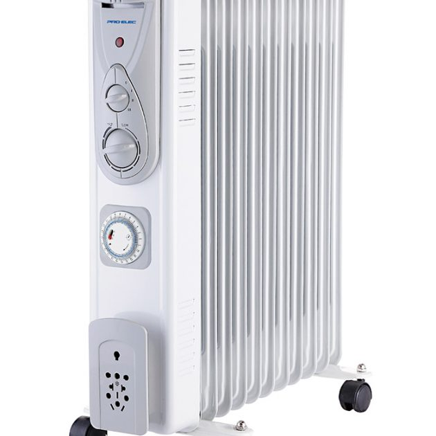 11 Fin 2.5kW Oil Filled Heater with Timer - White-0