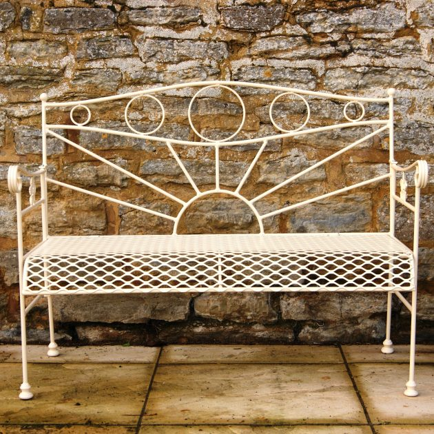 Solid Steel Cream Garden Bench-0