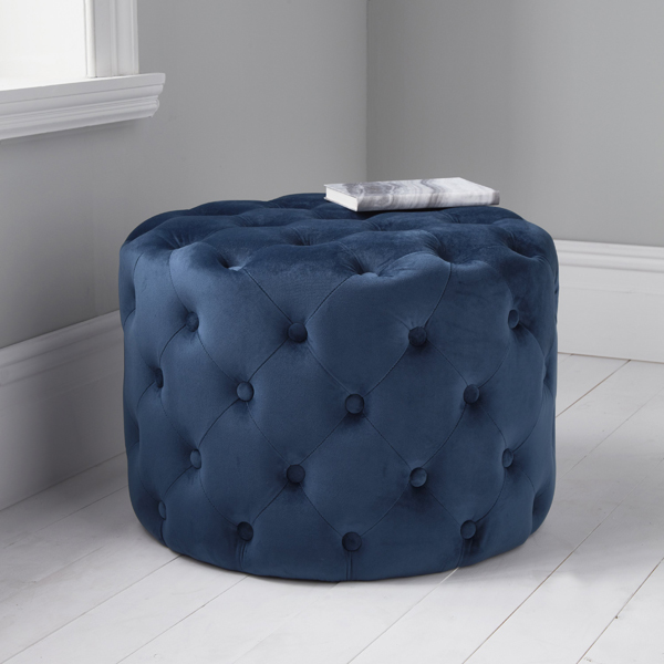 Blue Velvet Tufted Footstool_1