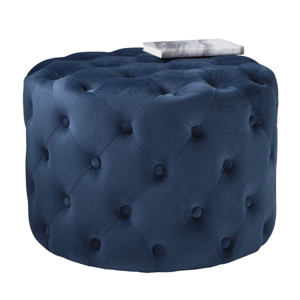 Blue Velvet Tufted Footstool