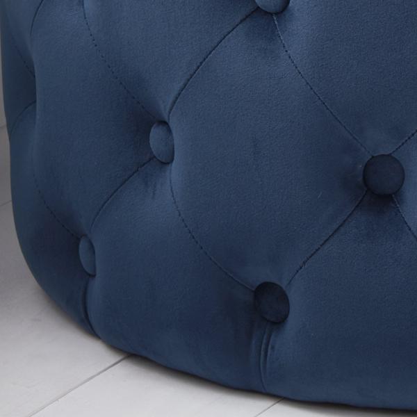 Blue Velvet Tufted Footstool_2