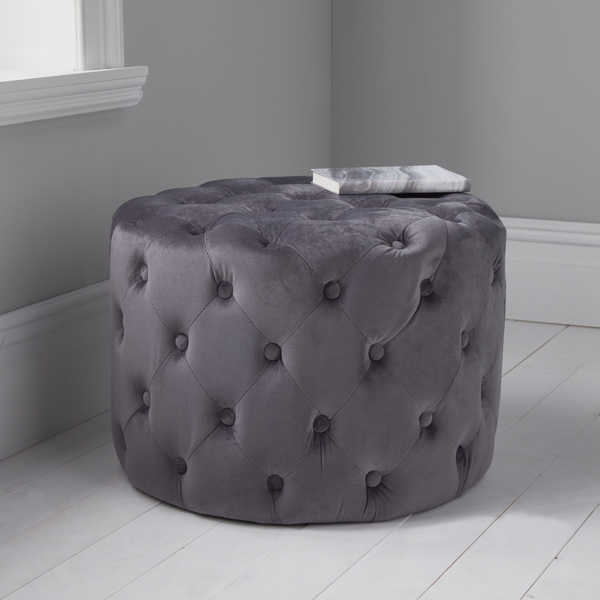Grey Velvet Tufted Footstool_1