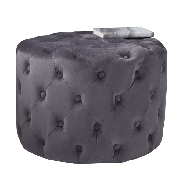 Grey Velvet Tufted Footstool