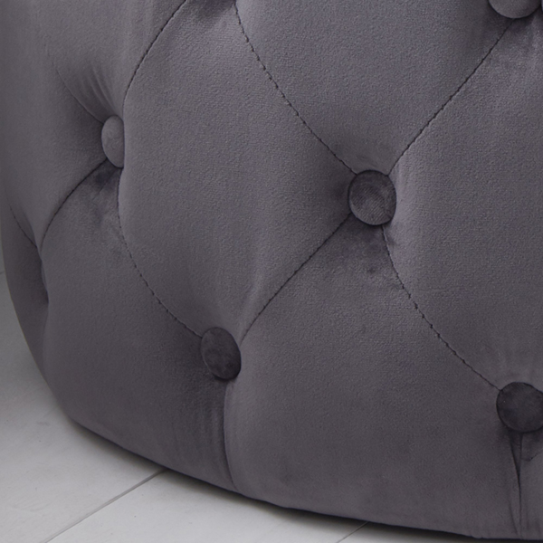 Grey Velvet Tufted Footstool_2