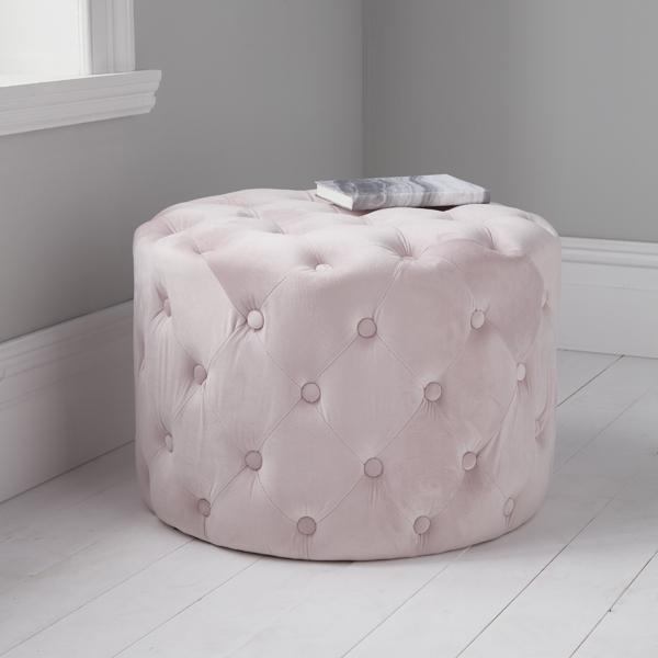 Pink Velvet Tufted Footstool_1