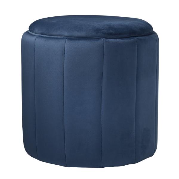 Mystique Blue Velvet Round Footstool