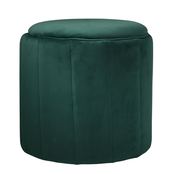 Deep Green Velvet Round Footstool