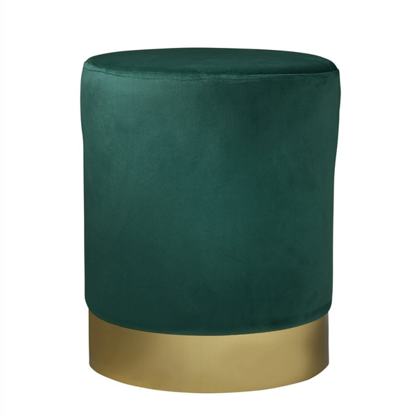 Green Gold Velvet Pouffe Footstool