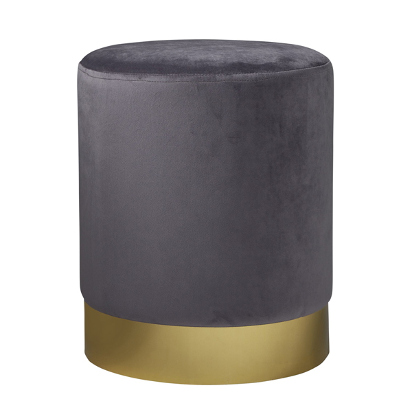 Grey Gold Velvet Pouffe Footstool