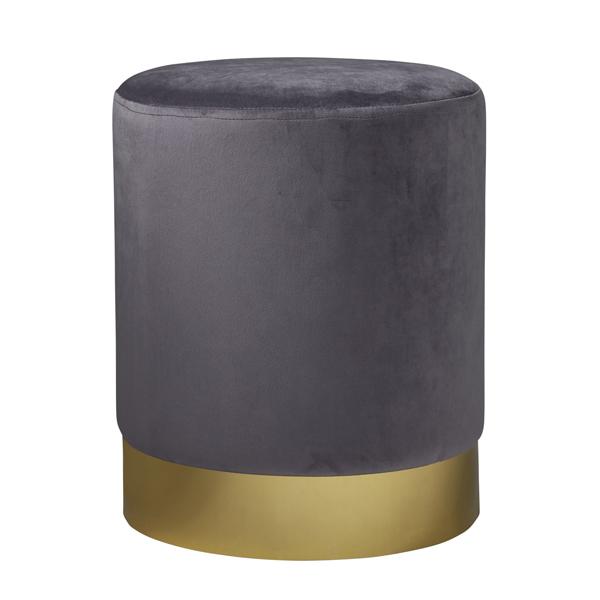 Grey Gold Velvet Pouffe Footstool