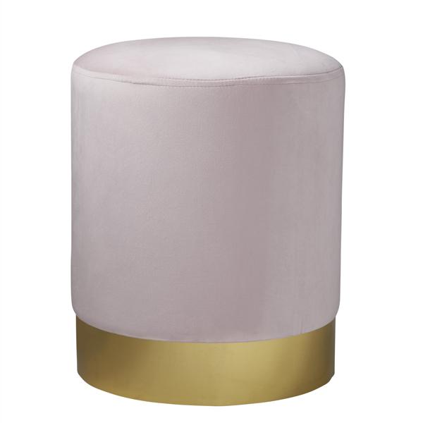 Pink Gold Velvet Pouffe Footstool