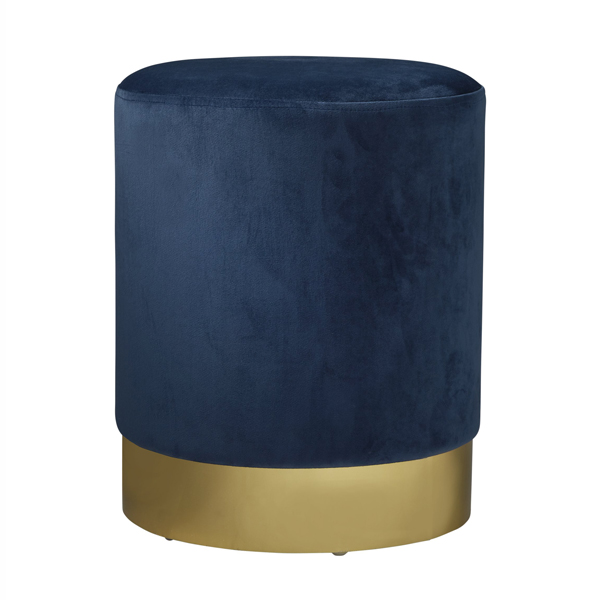 Blue Gold Velvet Pouffe Footstool