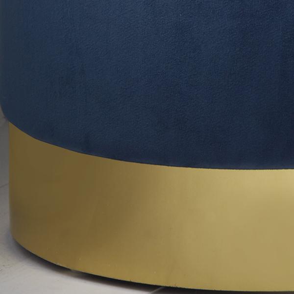 Blue Gold Velvet Pouffe Footstool_2