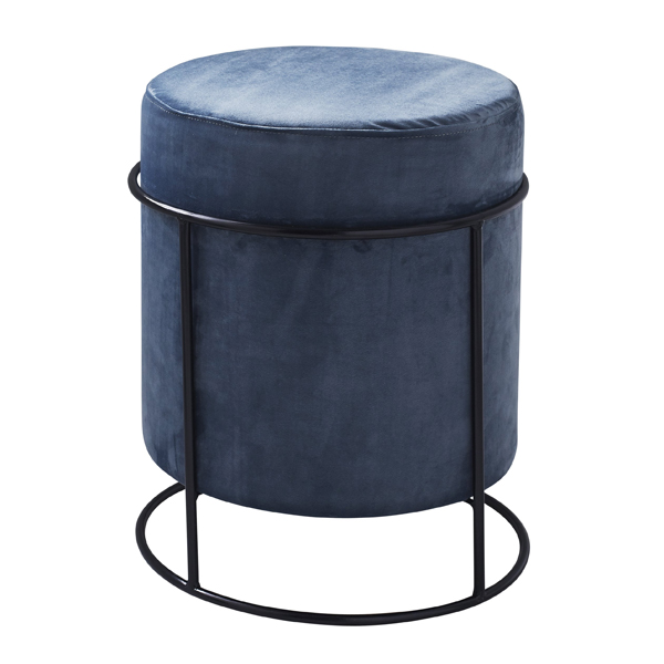 Dark Grey Velvet Pouffe Footstool