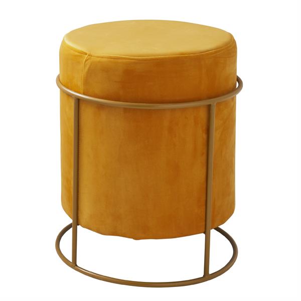 Mustard Yellow Velvet Pouffe Footstool