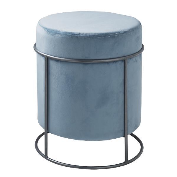 Teal Blue Velvet Pouffe Footstool