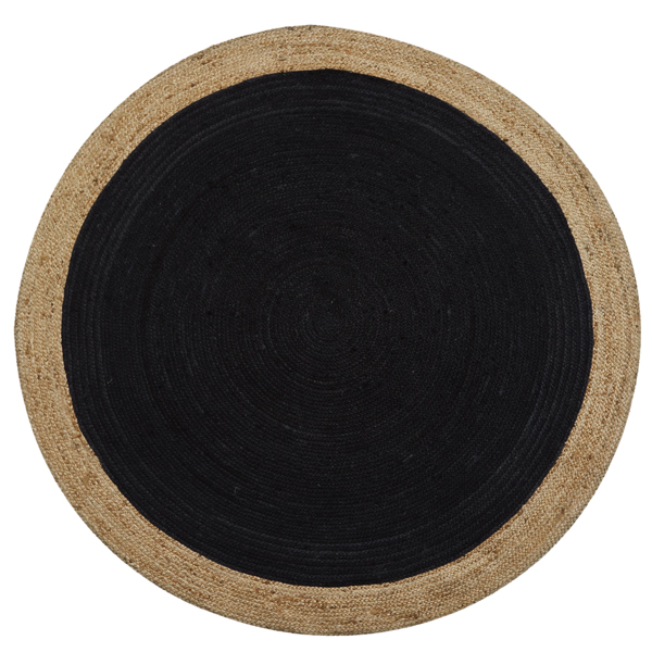 Charcoal Grey Round Jute Rug