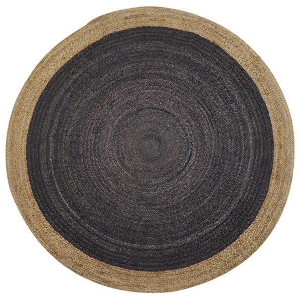 Light Grey Round Jute Rug