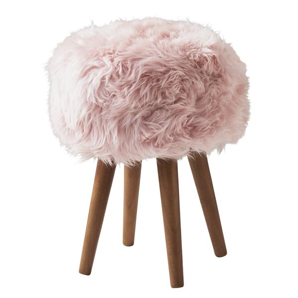 Blush Pink Sheepskin Stool