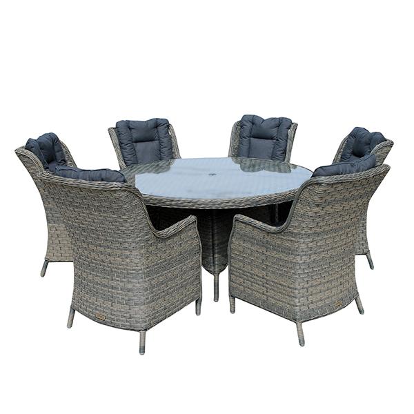 Casamoré Corfu Woodash 6 Seater Round Dining Set