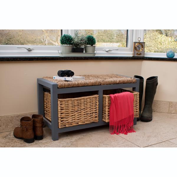 Gloucester 2 Drawer Storage Bench Slate Grey_1