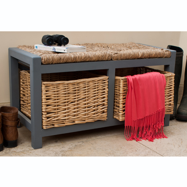 Gloucester 2 Drawer Storage Bench Slate Grey_2