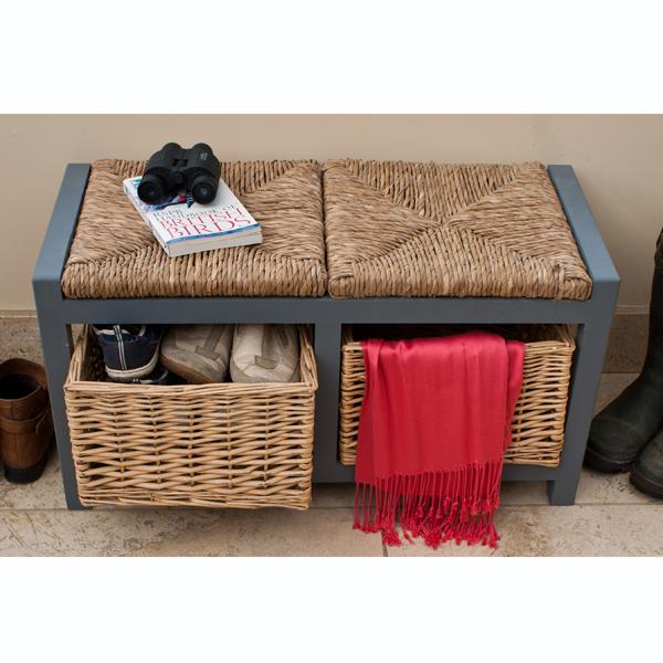 Gloucester 2 Drawer Storage Bench Slate Grey_5