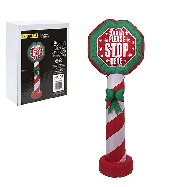 Inflatable Santa Stop Here Sign