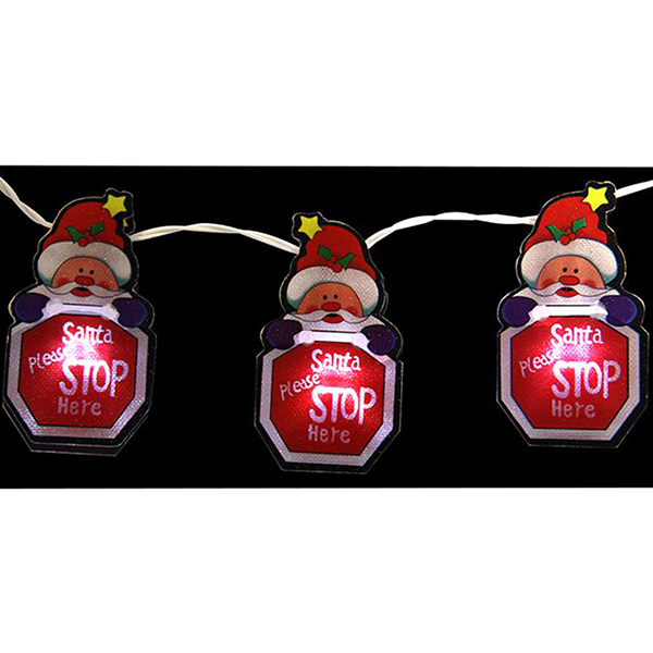 LED Santa Stop Here Christmas Lights