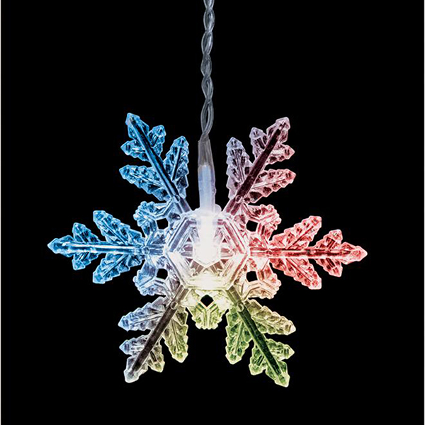 Colour Changing LED Snowflake Curtain Lights