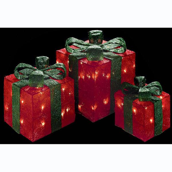 Red Glittering Christmas Light Presents