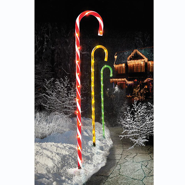 Multicoloured Candy Cane Pathway Christmas Lights