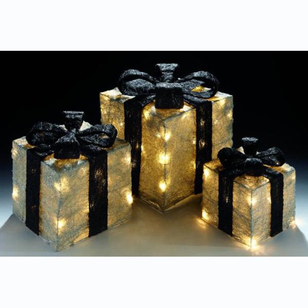 Silver Glittering Christmas Light Presents