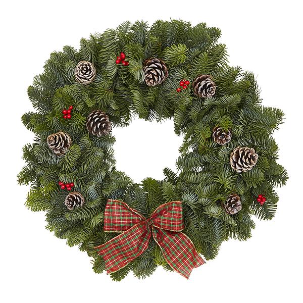 Traditional Tartan Real Christmas Wreath 40cm