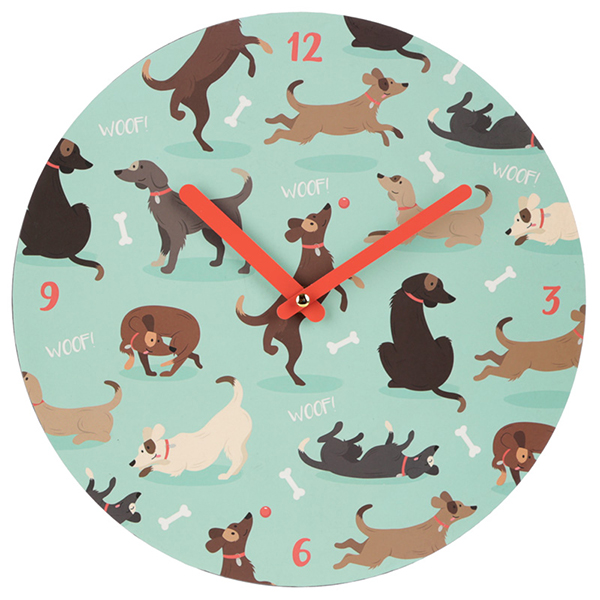 Dog Print Round Wall Clock