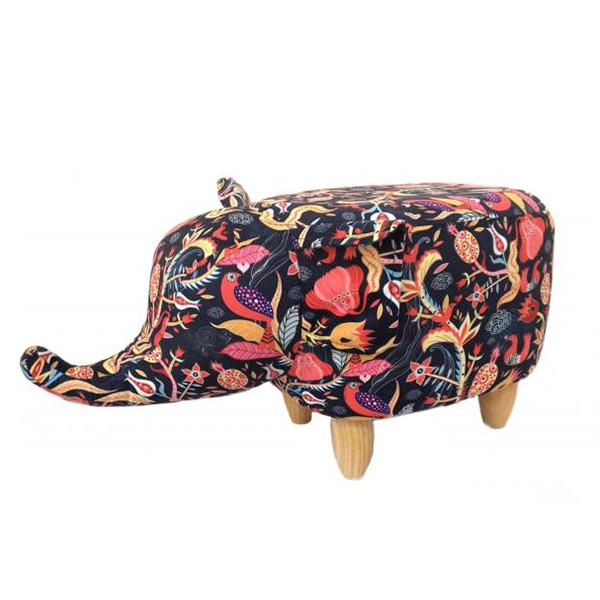 Floral Pattern Elephant Footstool