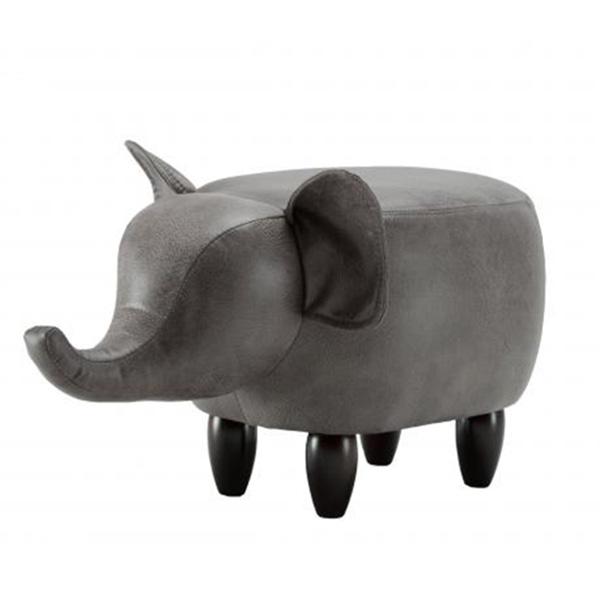 Dark Grey Elephant Leatherette Footstool