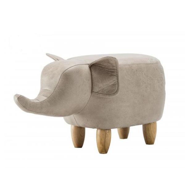 Light Grey Elephant Leatherette Footstool