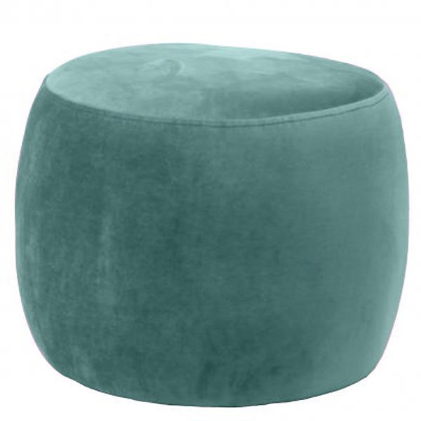 Green Round Velvet Footstool