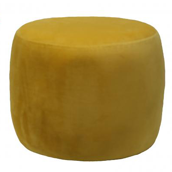 Mustard Round Velvet Footstool