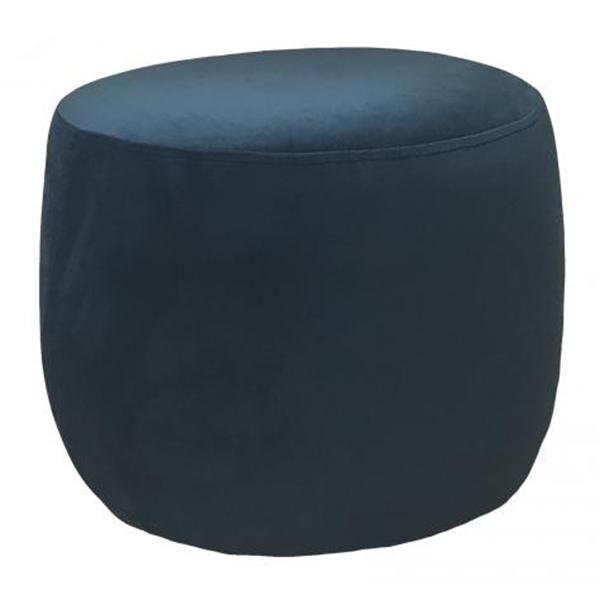 Teal Round Velvet Footstool