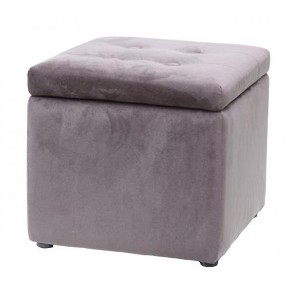 Square Grey Velvet Storage Footstool
