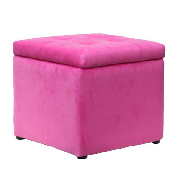Square Pink Velvet Storage Footstool