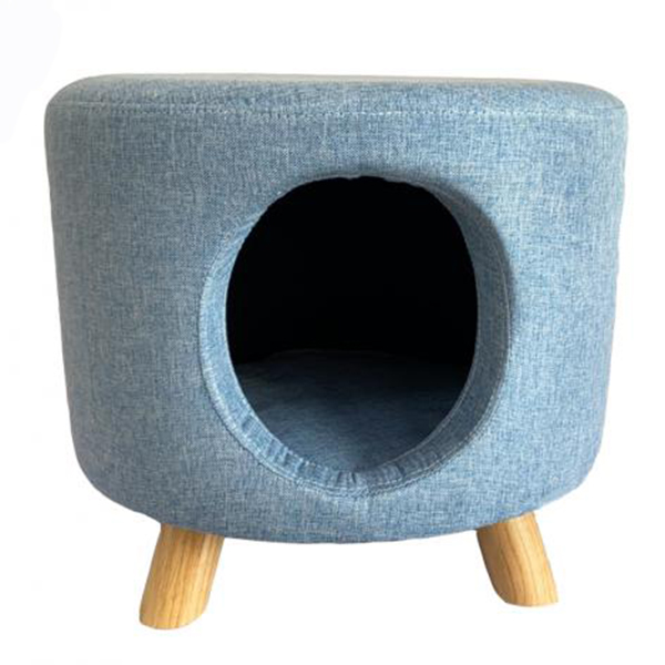 Pale Blue Cat House Footstool