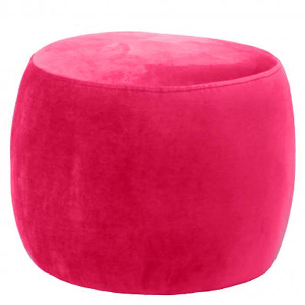 Red Round Velvet Footstool