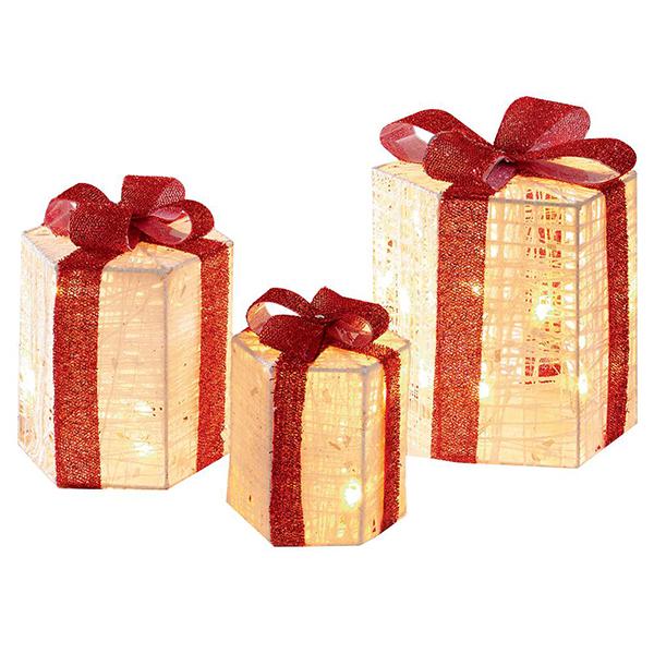 3 Hexagonal Present Christmas Lights
