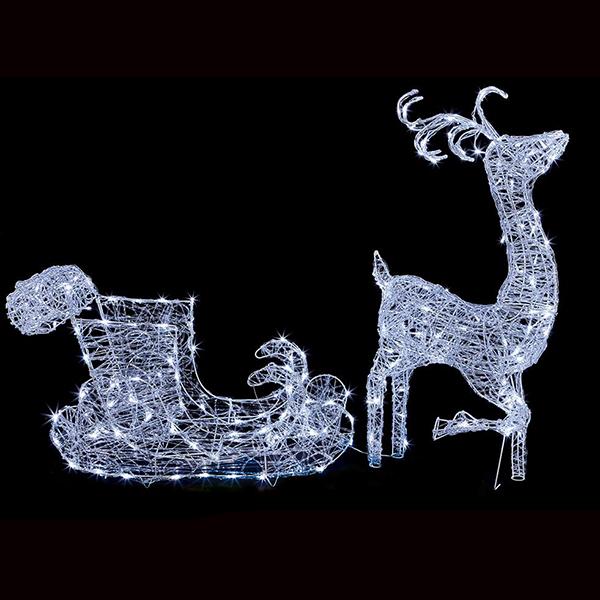 Reindeer and Sleigh Christmas Light Sculpture