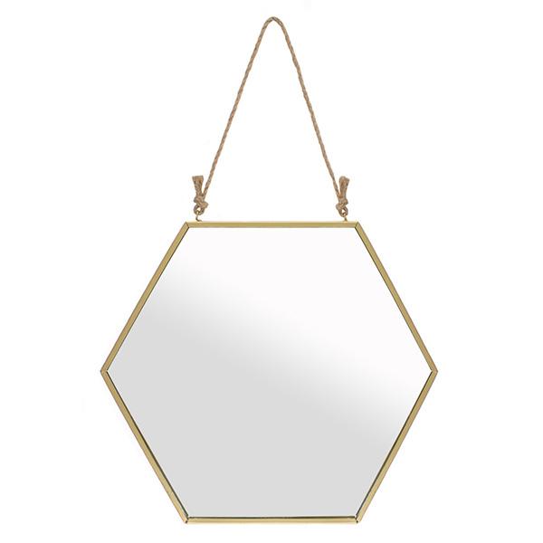 Large Gold Hexagon Hanging Mirror