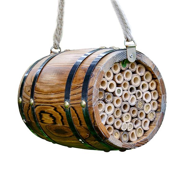 Wooden Hanging Bee Barrel Habitat